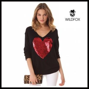 WILDFOX RED SEQUIN HEART BLACK SWEATER A2C